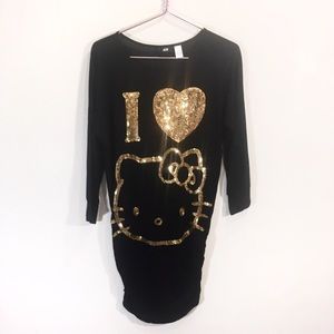 Hello Kitty H&M Sequin Tunic Size Small Black Gold